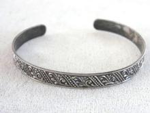 Signed Decorated Cuff Sterling Silver Bangle Bracelet Vintage