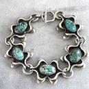 Spider Web Turquoise Bracelet Vintage Signed Handmade Sterling Fabulous