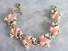 Coro Pink Enamel Bracelet Resin Beads Vintage Safety Chain Pretty!