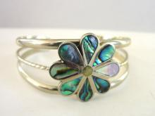 Signed Inlay Cuff Bracelet Alpaca Vintage Flower