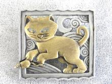 Cat Mouse Pin Signed JJ Two Tone