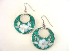 Turquoise Flower Earrings Signed Inlay Mother of Pearl Vintage Alpaca