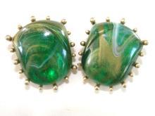 Signed Abstract Green Swirl Earrings Vintage
