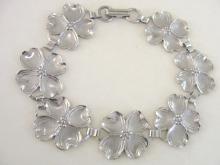 Sterling Dogwood Bracelet Flower Silver Signed Beau Vintage