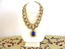 Fabulous Signed Necklace CRAFT Chunky Blue Vintage