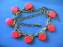 Coral Thermoset Necklace,Pink/Org,Plastic,Vintage