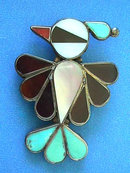 Vintage ZUNI Bird Pin,Sterling,Inlay,Beautiful!