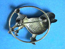Sterling Poodle Dog Pin,Standard,Art Deco