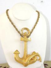 Hattie Carnegie Necklace Large Anchor Pendant Vintage Fish