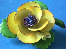 Staffordshire Cara China Brooch,Yellow Flr with Blue Center,Vintage