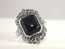 Signed Marcasite Onyx Ring Black Sterling Silver Vintage Deco