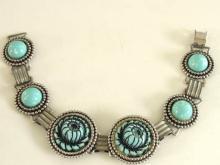 Blue Molded Bracelet Flower Link Silver Vintage Faux Turquoise