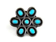 Turquoise Sterling Pin Cabochons Native American Silver Vintage