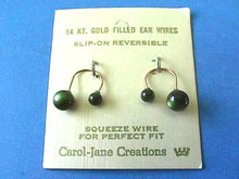 Slip-On Earrings,Grn,Reversible,Vintage,New On Cd