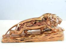 Bronzed Lion Figure Sculpture Vintage Heavy Statue