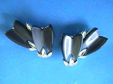 Lisner Thermoset Earrings,BlackGray,S/T,Vintage