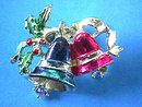 Christmas Bells Pin,Enamel,R/S,Vintage,Fab!