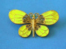 Enamel Butterfly Pin,Yellow,Vintage
