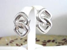 Sterling Infinity Earrings Signed Hollow Pierced Large Vintage
