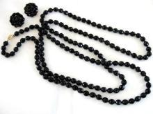 NEWHOUSE Vintage Set Black Beads 55 Inch Long Necklace Earrings Signed