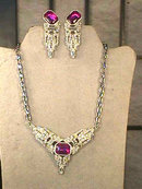 Art Deco Set,Signed,Amethyst R/S Neck & Ers,Vintage