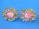 Pink Enamel Earrings,Moonglw,R/S,Vint,SB,Sgnd