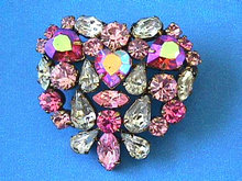 Austria Rhinestone Brooch,Pinks,Prongs,Vint,Fabulous!