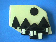 Lucinda House Pin,Blk & Wht,Full Moon,Nice!