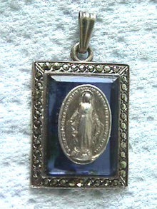Deco Mary Pendant,Marcasite,Sterling,Cobalt Blue,Nice!
