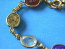 Goldfilled Scarab Bracelet,Vintage,6 Gen Stne
