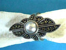 Judith Jack Ring Marcasite Mabe Pearl Sterling