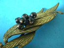 Kandell Marcus Brooch Early Brass Black Beads 3 5/8 inches