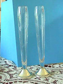 DUCHIN Sterling Crystal Etched Bud Vase PAIR
