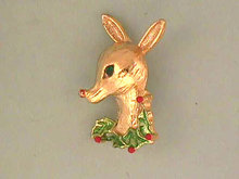 Signed Christmas Deer Head Holly Pin Vintage