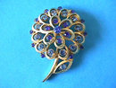 BLUES Flower Pin Brooch Lg Vintage Rhinestones