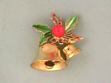 Christmas Bells Pin Double Works Vintage