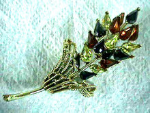 CORO Autumn Brooch Rhinestones Vintage Beauty!
