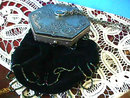 Silver Black Velvet Purse Bag OLD Crystals