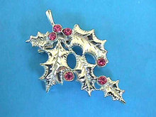 Silver HOLLY Pin Pink Rhinestones Vint Christmas