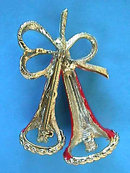 CHRISTMAS Double Bell Pin Unusual Vintage