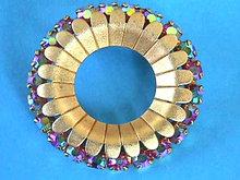Aurora Bourealis Pin Vintage 24+Stones Prong