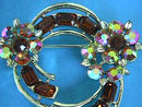 LISNER AB Topaz Rhinestones Pin Brooch Vintage