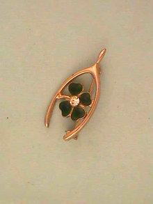 Wishbone Enamel Pin Clover Rhinestone Vintage