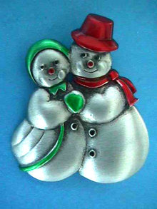 Mr Mrs Snowman Pin Enamel Signed So Cute!