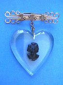 Vintage Cameo Bar Pin Heart Fancy Wire Work
