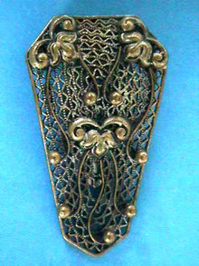 Czech Fur Clip Pin Brooch Filigree OLD