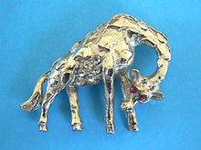 Silver Giraffe Pin Amethyst Eyes R/S Belly Vintage Nice