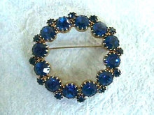 Sapphire Blue Pin Brooch Prong Set Lg Vintage