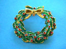 Enamel Christmas Wreath Pin Vintage