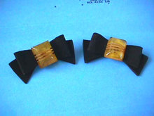 BAKELITE Bow Shoe Clips Black Velvet Fabulous